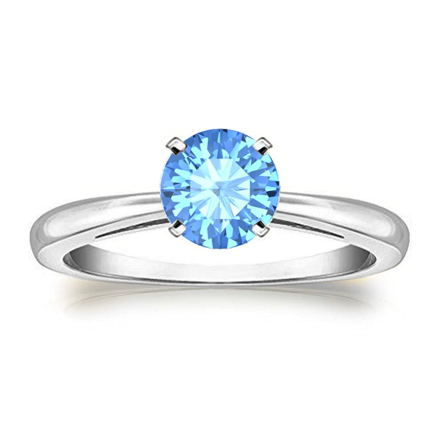 Awesome 14K White Gold Plated 1.00 Ct Round Cut Created Blue Topaz Solitaire Wedding Engagement Ring