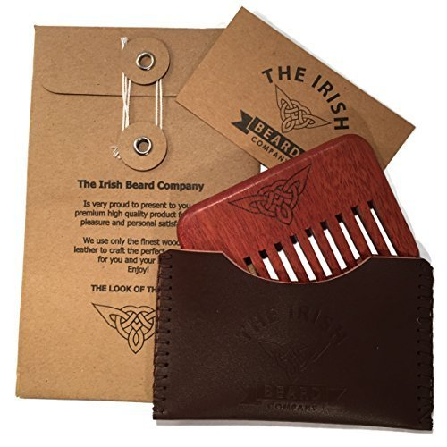 Wooden Beard Comb - Natural Wood Pocket Beard Comb with Real Hand Stitched Leather Pouch - Ideal for Male Beard Grooming by The Irish Beard Company
