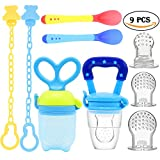 UniBetter Baby Food Feeder Pacifier 2 PCs Pacifier Clips 2 PCs Baby Feeding Spoons 3 PCs Replacement Silicone Pouches Baby Fruit Teething Toys for Toddlers Infant Baby Shower Gift (Blue Set)