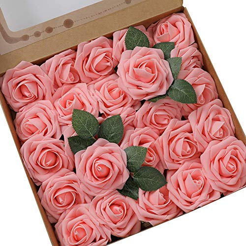 Gsdviyh36 25Pcs Artificial Flower PE Rose Stick Wedding Bouquet Wreath DIY Party Decor, Fake Flowers Artificial Greenery for Home Garden Party Wedding Decoration Dark Pink from Gsdviyh36