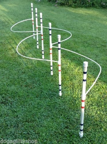 Dog Agility Equipment weave poles (set of 6) with guide wires by DogAgilityShop (Weave Pole Wires)