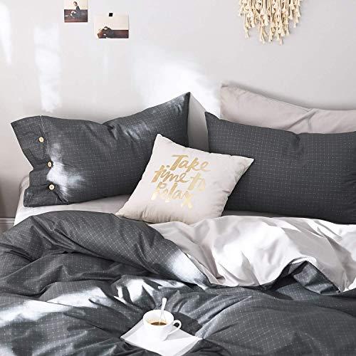 - OREISE Duvet Cover Set King Size 100% Cotton Bedding Set Dark Gray Printed Dot/Grid Pattern,3Piece (1 Duvet Cover + 2 Pillowcase),Comfortable Luxurious Hypoallergenic