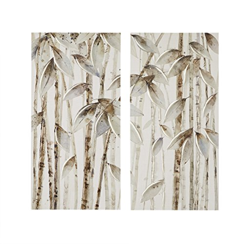 Madison Park Bamboo Forest Wall Art Print, Hand Brushed Embellished Canvas Modern Contemporary Stretched 2 Piece Set Asian Themed Painting Living Room Décor, Natural