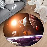 Nalahome Modern Flannel Microfiber Non-Slip Machine Washable Round Area Rug-or Solar System with Planets Outer Space Objects Sun Dark Matter Background Orange Purple Area Rugs Home Decor-Round 28''