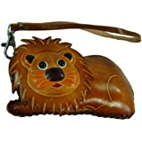 Leather Change/coin Purse/Cards Holder,Lion Pattern Wallet.Zipper Closure,Brown.