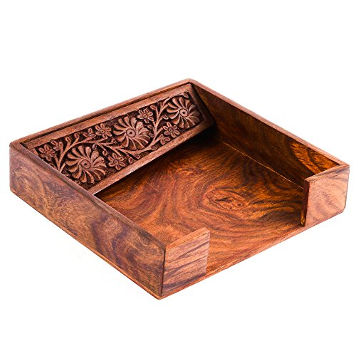 Rusticity Indian Traditional Handmade Carved Wooden Napkin Holder Modern Design Sheesham Storage for Tissue & Paper – Kitchen, Dining, Bathroom, Toilet, Bedroom & Table Countertop, 7.5 x 7 in