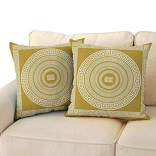 Polyester Pillowcase Greek Key Frieze with Vintage Ornament Meander Pattern from Greece Retro Twist Lines Cushion W 20