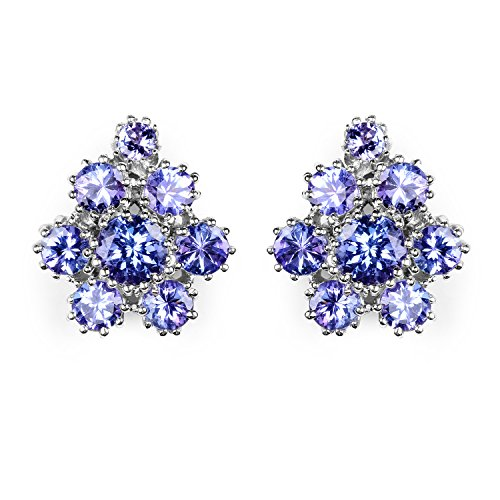 4.30 Carat Genuine Tanzanite Sterling Silver Earrings