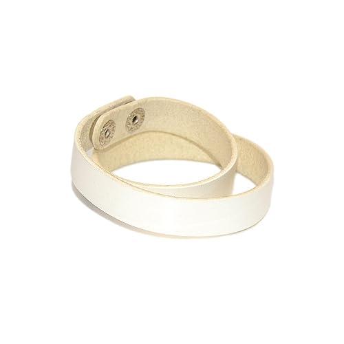 Amazon Double Wrap Bracelet Leather Wrist Cuff White