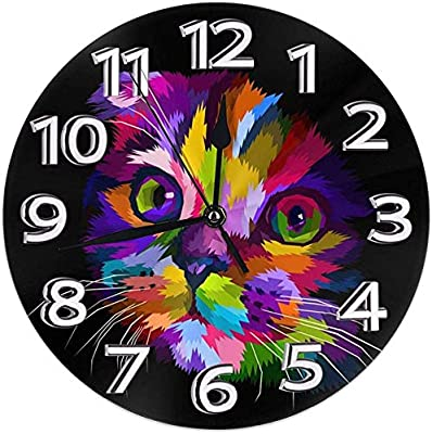 Kncsru Reloj de Pared Gatos Coloridos Relojes Decorativos Impermeables Reloj de Pared Redondo Duradero Reloj Ligero con Agujas de números Romanos: Amazon.es: Hogar