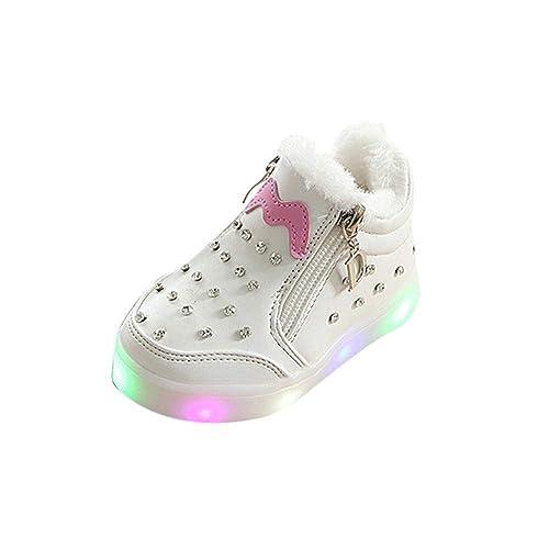 ALIKEEY Niños Niñas Bebé Zip Crystal Llevó Luz Luminosa Deporte Zapatillas Deportivas Zapatillas Deporte Cuna Mes Bautizo Meses Zapato Inferior en otoño: ...