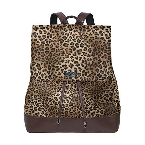 (KUWT Animal Leopard Skin PU Leather Backpack Travel Shoulder Bag School College Book Bag Casual Daypacks Diaper Bag for Women and Girl)