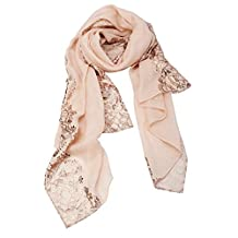 Asian Style Women Scarf, Exotic Golden Embossing Decorative Peach Pink Wrap Shawl