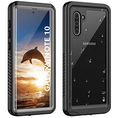 ANTSHARE Galaxy Note 10 Waterproof Case,Note 10 Case Built in Screen Protector 360°Full Body Protective Shockproof Dirtproof Sandproof IP68 Underwater Waterproof Case for Note 10(Clear Black)