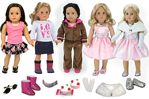 18 Inch Doll Clothing with Accessories Including Shoes by Sophia's | 17 Pieces (Walmart American Girl Dolls)