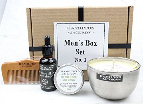 Men's Grooming 100% Natural Organic Gift Set Box Orange & Cinnamon Soy Candle, Hemp Seed Lip Balm, Wooden Beard Hair Comb, Shave, Beard Multi Use Anti Aging Face Oil