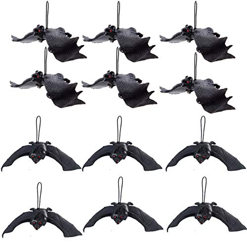 JamHooDirect 3D Decorative Scary Spooky Hanging Bats for DIY Halloween Party Supplies, Wall Window Decoration Set of 12pcs, Black, 2 Size