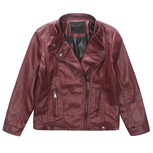 LJYH Boys Faux Leather Jacket indiana jones costume kids Redwine Black