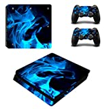 PS4 Slim Skin Sticker,Candy86 Protective Vinyl Decal Skin Sticker for PS4 Slim Console + 2 Controller Skins + 2 x Silicone Thumb Grips (Colour 20)