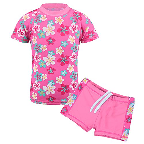 (TFJH E Girls Swimsuit Children Sun Protection Bathing Suit UPF 50+ UV S200 Pink Flower 3-4 Years 104/110)
