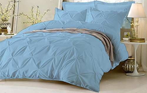 Pinch Pleated Duvet Cover Set 3 Piece With Zipper & Corner Ties 100% Egyptian Cotton 600 Thread Count Hypoallergenic (1 Duvet Cover 2 Pillow Shams) ( Cal King/King, Sky Blue ) by Kotton Culture
