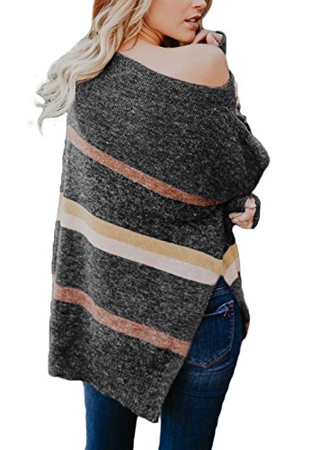 Astylish Womens Ladies Sexy Loose Fit Soft Off Shoulder Knitted Sweaters Pullover Side Slit Color Block Striped Comfy Work Knit Pullover Sweater Top Plus Size X-Large 16 18 Grey by Astylish (Image #2)