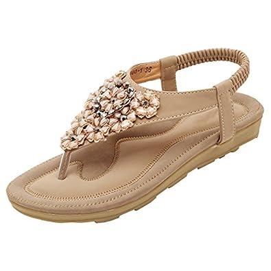 49afa0f63 Oasap Women s Flat Boho Slingback T-Strap Rhinestone Ankle Strap Thong  Sandals
