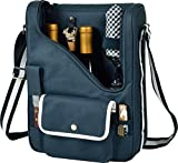 Picnic at Ascot – Wine Carrier Deluxe with Glass Wine Glasses and Accessories for Two, Navy/White