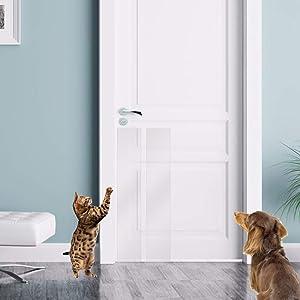 KEBE Door Scratch Guard, Self-Adhesive Clear Flexible Vinyl Toughest Cats Dog Scratch Protector Door Wall & Furniture Shield for Dog Cat Scratching Deterrent, Defender & Repellent