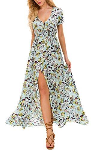 con Fluido Vestido de en 3 de Vestido V Playa Mujeres de Largo Floral de la Cuello Las Boho Impresión la xYn8w65qFO