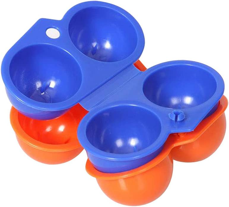 Rrunzfon 2 Cavities Folding Portable Plastic Egg Holder Storage Box Container Folding Egg Container Egg Case with Handle for Hiking Picnic Outdoor Camping for Blue 1pc