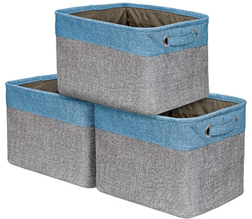 Sorbus Storage Large Basket Set [3-Pack] - 15 L x 10 W x 9 H - Big Rectangular Fabric Collapsible Organizer Bin with Carry Handles for Linens, Towels, Toys, Clothes, Kids Room, Nursery (Aqua)