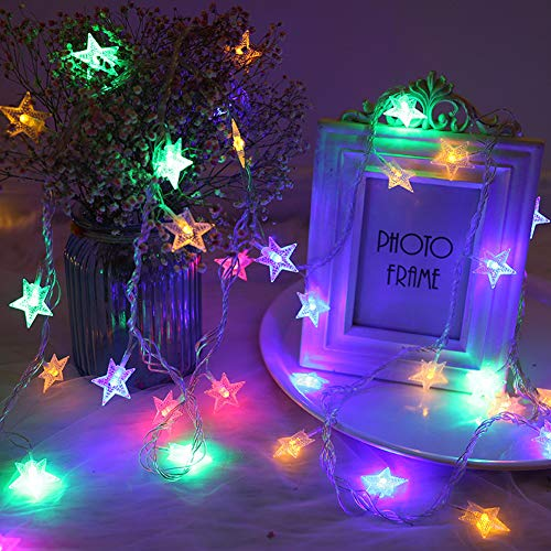 BJYHIYH Battery Powered Star String Lights 16ft 40 LED Colored