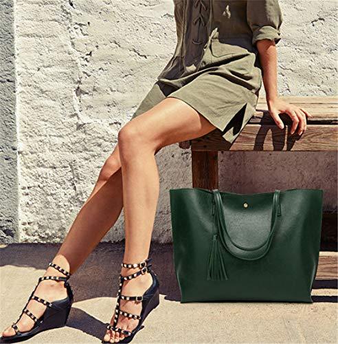 Secchiello Messenger Donna Da Unicolor Accessori Spalla Classici Verde Lavoro Vintage University Elegante Borse Mano Fashion Xiuy Pu Outsize A aSqnvwHdH
