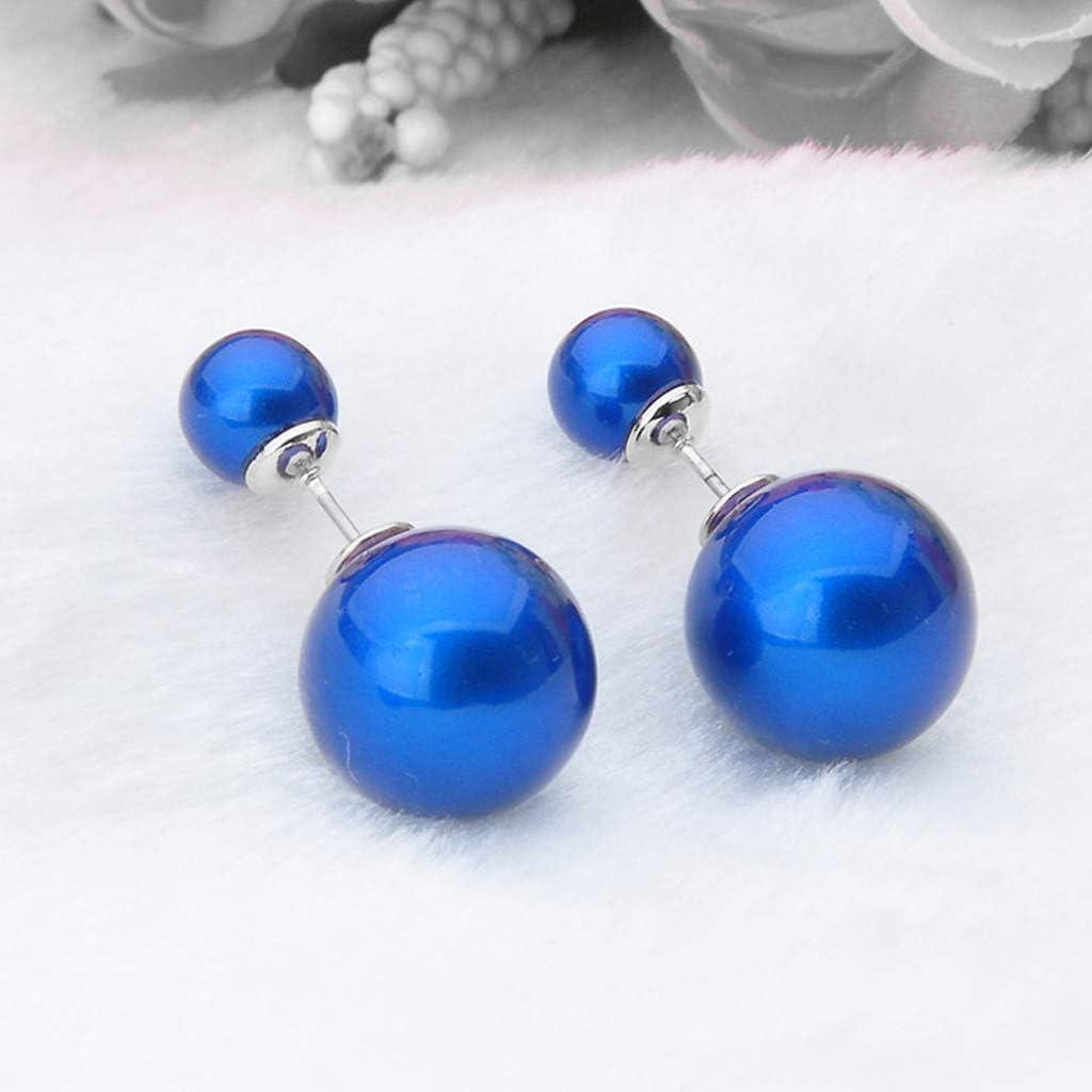 LuLyL Boucles doreilles /à Tige Double Face plaqu/ées Argent Sterling 925 avec Deux Boules Brillantes Bleues(-)