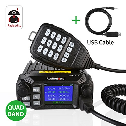 Radioddity QB25 Quad Band Quad-Standby Mini Mobile Car Truck Radio VHF UHF 25W/10W Car Transceiver with Programming Cable & ()