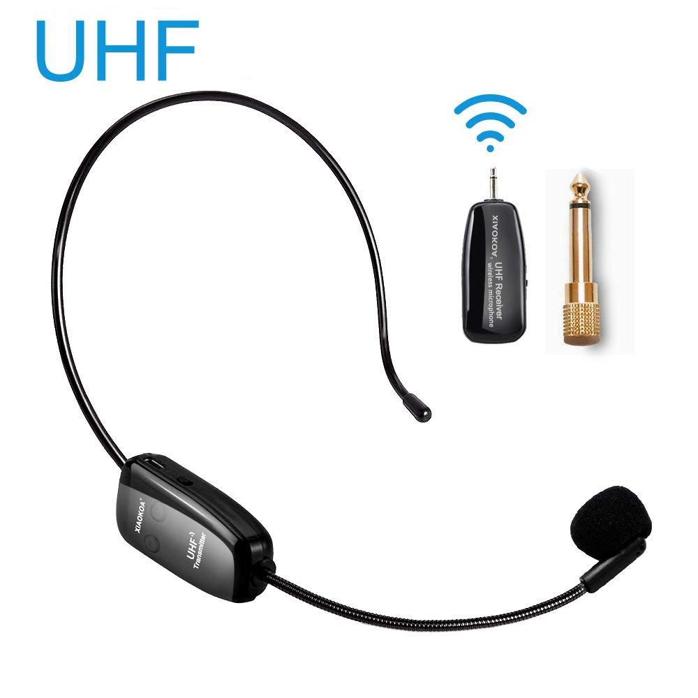 Wireless Microphone Headset, UHF Wireless Mic Headset and Handheld 2 in 1, 160 ft (50M) Range, Rechargeable for Voice Amplifier, Stage Speakers, Teacher, Tour Guides, Fitness Instructor by XIAOKOA