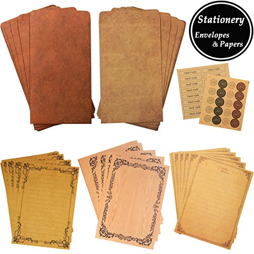 ADVcer Vintage Stationary Paper and Kraft Envelopes Set with Seal Stickers, 72pcs 3 Patterns 8.3x5.7