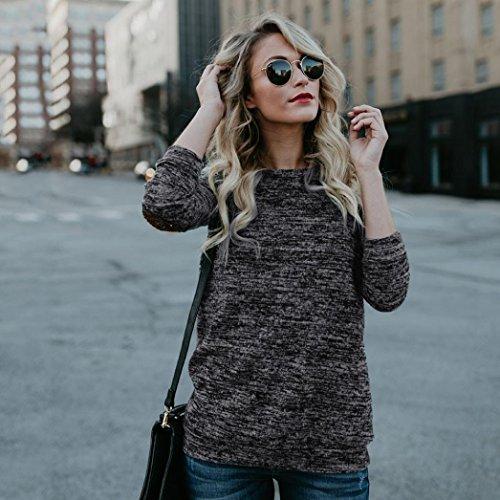 collo O donna Camicette A Abcone Lustrini Casual Nero Lunghe Pullover Elegante shirt T Maniche Tops Felpa Camicie Autunno dIRtq