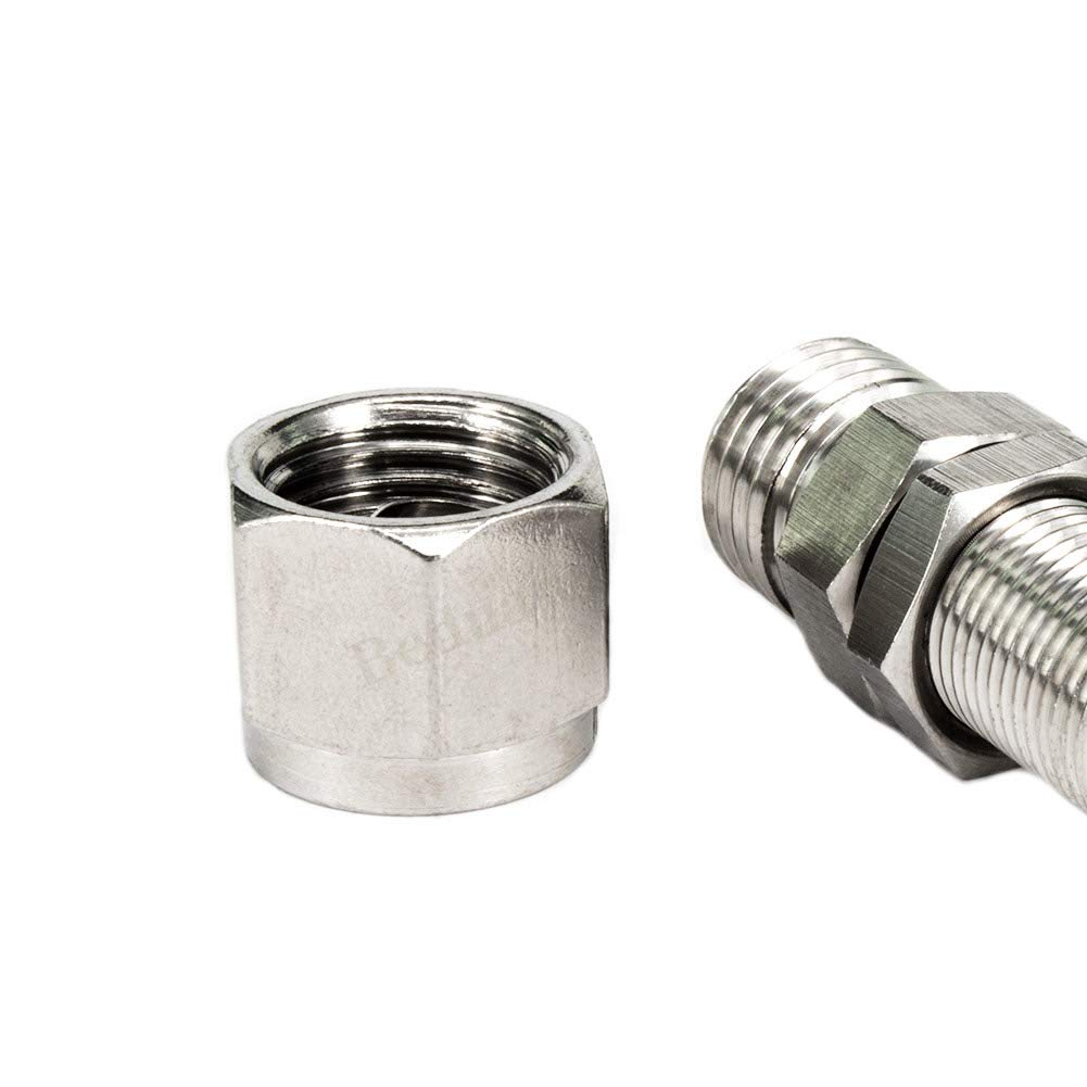 Beduan 304 Stainless Steel Bulkhead Fitting Pack of 2 8mm x 8mm Tube OD Air Compressor Ferrule Fitting Bulk Head Union Adapter Connect