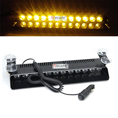 - Wecade 12w 12 Leds Car Truck Emergency Strobe Flash Light Windshield Warning Light (Amber)