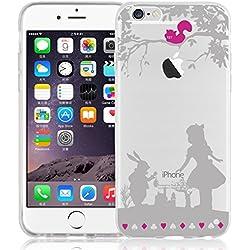 Cover iPhone 7 Plus, JAMMYLIZARD Custodia in Silicone Trasparente con Sketch per iPhone 7 Plus, ALICE NEL PAESE DELLE MERAVIGLIE