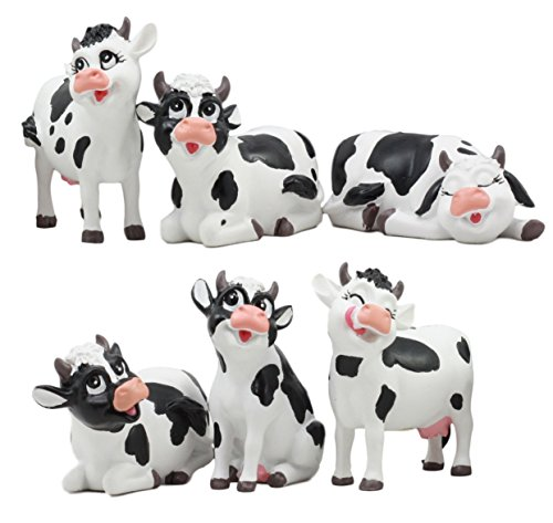 Ebros Set of 6 Whimsical Cute Bovine Cows Figurines Cattle Cow Animal Collectibles Countryside Farm Meadows Pasture Cow Statues