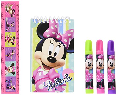 Disney Minnie Mouse Stationery Set Birthday Party Favour, Plastic , Pack of 5