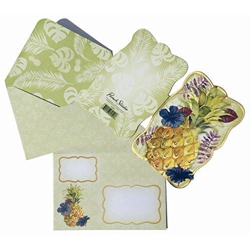 Punch Studio Set of 10 Gold Foil Embellished Blank Note Cards ~ Fancy Die-Cut Pineapple Light Tropics 61620