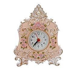 Kennedy Pastoral Retro Resin Rose Art Clock, Creative Rose Alarm Clock(white)