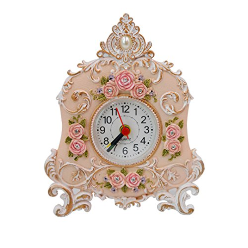Kennedy Pastoral Retro Resin Rose Art Clock, Creative Rose Alarm Clock(white) - Resin White Clock