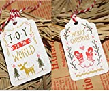 Lanyani 100 pack Christmas Gift Tags Assortment with Twine, 2 Designs for Xmas Present Bakers Wrapping and Labeling