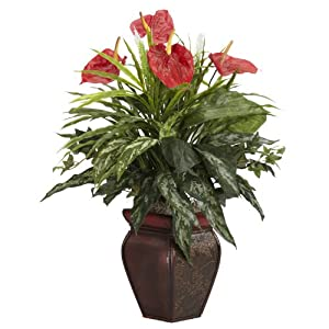 Nearly Natural 6678 Mixed Greens and Anthurium with Vase Decorative Silk Plant, Green 6