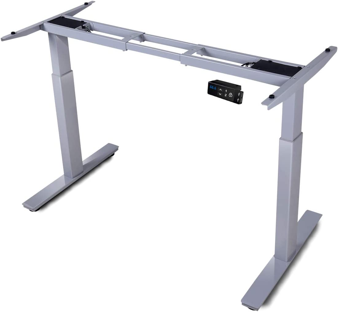 HAIAOJIA Electric Stand up Desk Frame Workstation, Dual Motor Ergonomic Electric Standing 2-Stage Lifting Columns Height Adjustable Base with Memory Controller – Frame Only